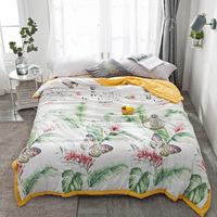 New Fashion Home Textile leaves Thin Summer Quilt Blankets Cartoon Comforter butterfly Bed Cover Quilting Suitable for Adults