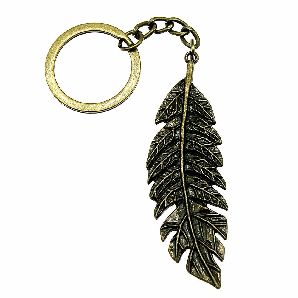 1 Stück Schlüssel Kette Große Blätter Mode Schmuck Geburtstag Geschenk 71x22mm Anhänger Antike Bronze