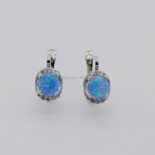 Beautiful Cute Simple Round Wholesale Jewelry Bule Fire Opal Charm Earrings
