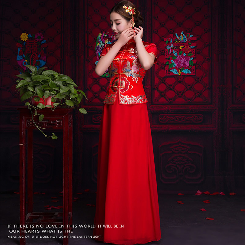 Bride Summer Wedding Cheongsam Short Sleeve Traditional Evening Gown ...