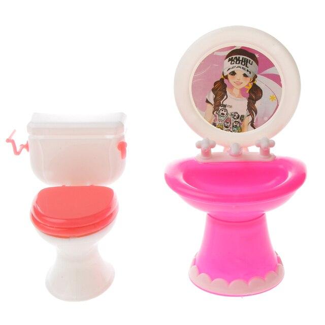 Nuovo Arrivo Dollhouse Miniatura Di Plastica Wc Lavabo per Barbie ...