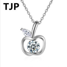 TJP Shining 925 Sterling Silver Choker Necklace For Women Engagement Bright Crystal CZ Stones Pendant jJewelry 2018 Hot