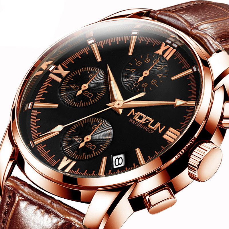 Fngeen Leather Automatic Mechanical Watch Casual Top Brand Luxury Mens Watches Stainless Steel Business Fashion Watch Men 20 mce automatic watches luxury brand mens stainless steel self wind skeleton mechanical watch fashion casual wrist watches for men