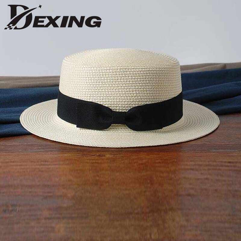 0230420c80f29 Detail Feedback Questions about wholesale 2019 flat bow straw hat girls  summer sun Hats For Women Beach boater hat ladies panama chapeau femme sun  fedora on ...