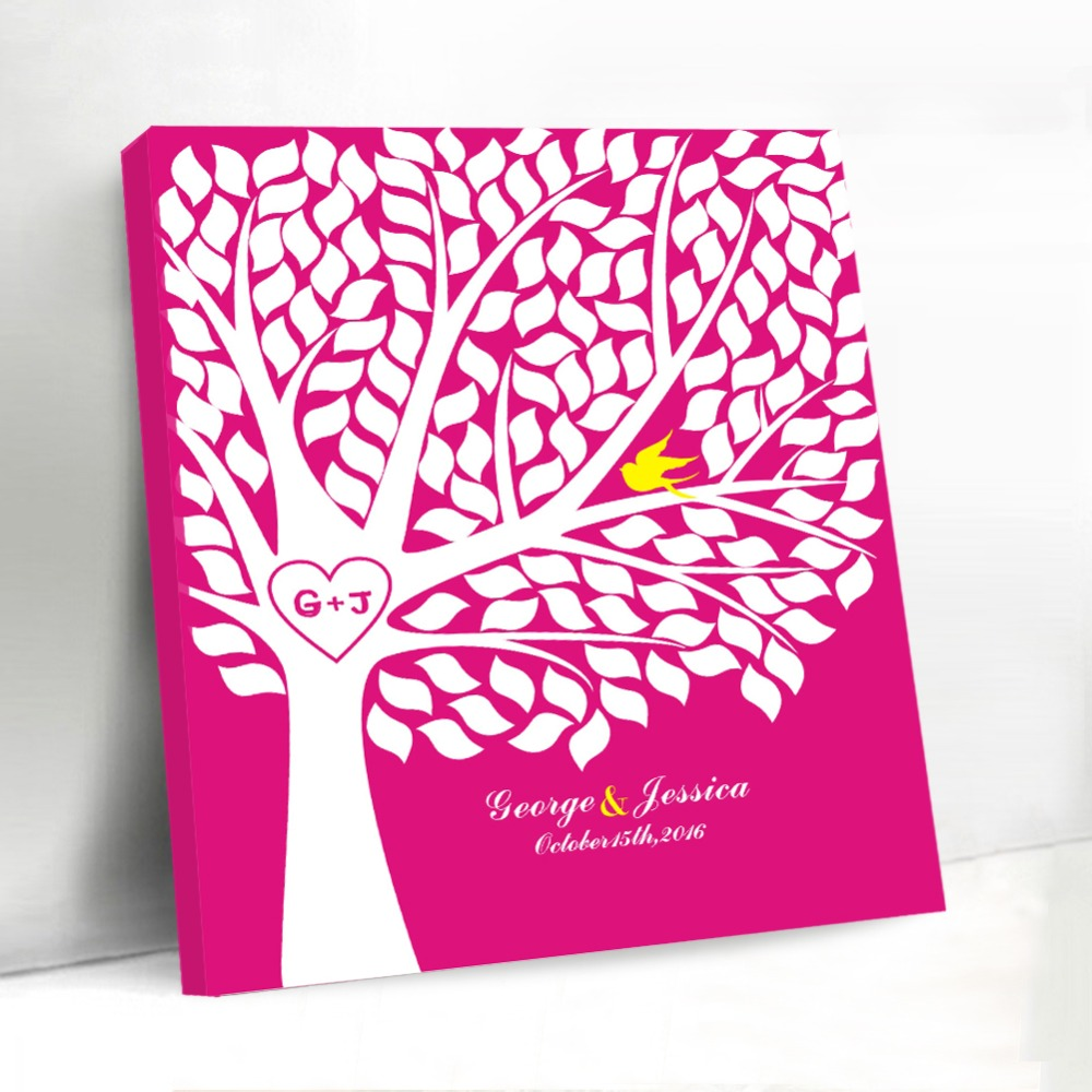 Rustic Canvas Guest Book Wedding Decoration Unique Wedding Tree Custom Vintage Signature Guestbook for Couple Bridal Shower Gift