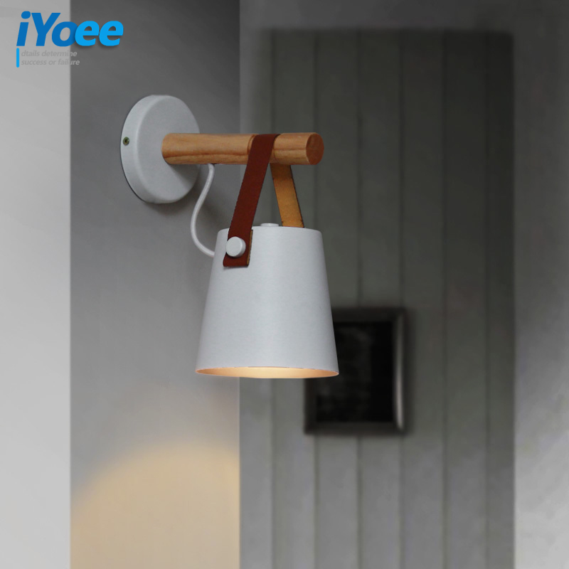 Image 2 - Nordic bedroom LED bedside Wall Lamps Indoor E27/E26 aisle lighting hotel Creative Wooden White/Black vanity Wall Sconces Light-in Wall Lamps from Lights & Lighting