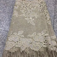 Beautiful Rose Embroidered Tulle African Lace Fabric High Quality Gold French Lace Fabric With Stones For