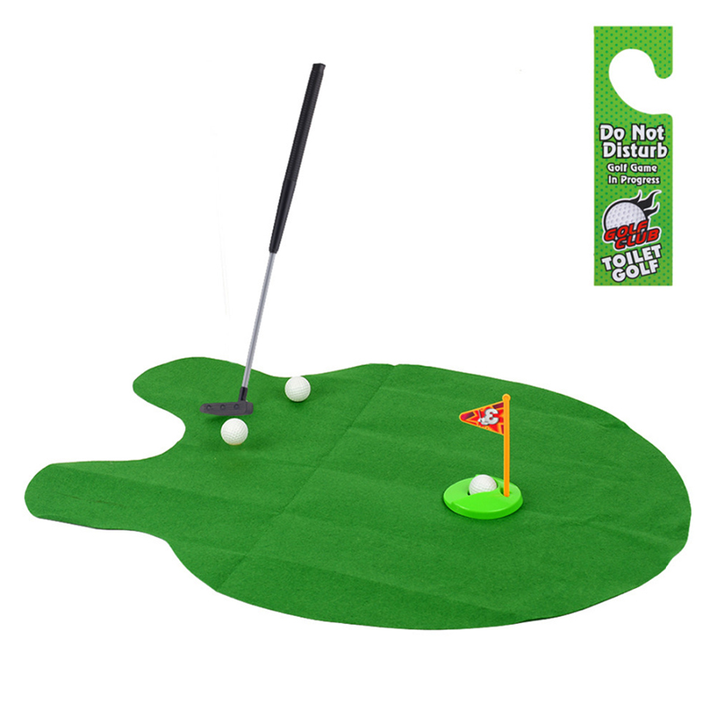 1Set Mini Golf Game Sets Toilet Time Bathroom Golf Practice Potty Putter Game Men's Toy Novelty Gift K5BO