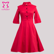 Rot/schwarz Frauen vintage festen Kleider Heißer Verkauf Neue Mode Sexy regelmäßige natürliche a-linie Party Cocktail Casual Dress S M L XL XXL