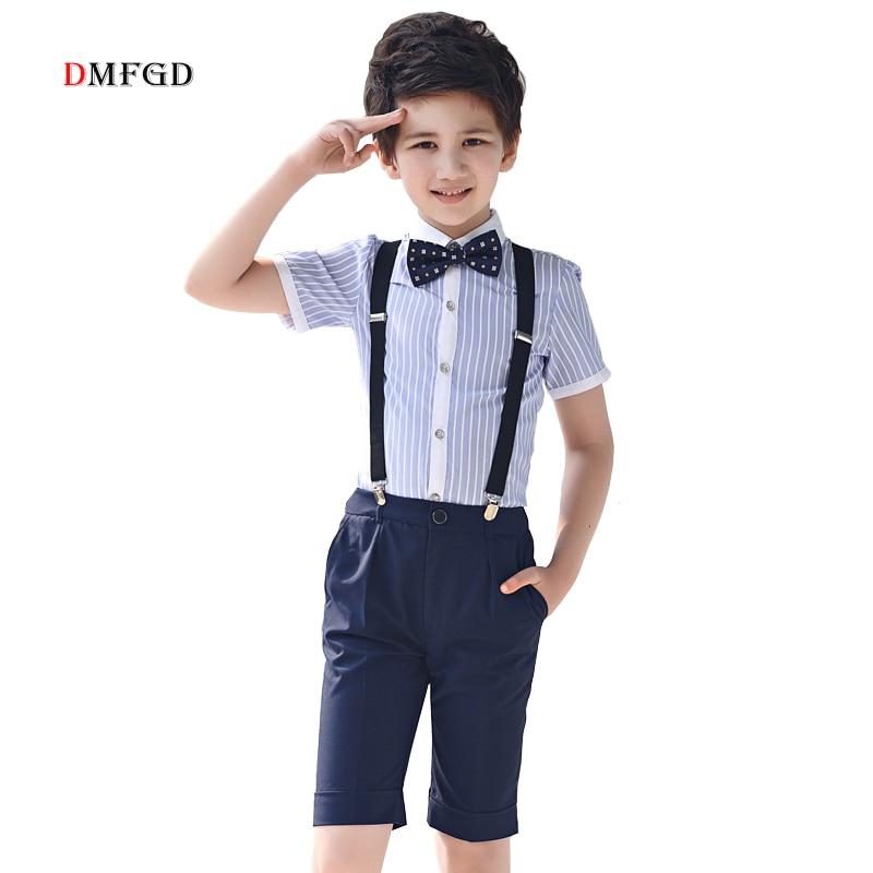4pcs/set boys clothing sets 100% cotton striped shirt kids clothes school uniform party dress teenager shorts child set costume striped side curved dip hem shirt dress