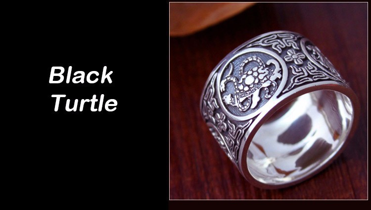 Awesome Chinese Traditional Culture 999 Sterling Silver Ring Black Turtle