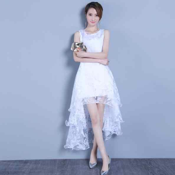 Асимметричное летнее женское платье без рукавов, милое бальное платье, белое платье из органзы с высоким низким вырезом, вечернее длинное женское платье DV482