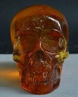 Народная Китай янтаря ручной резьбой Скелет голова человеческого черепа люди голова статуи