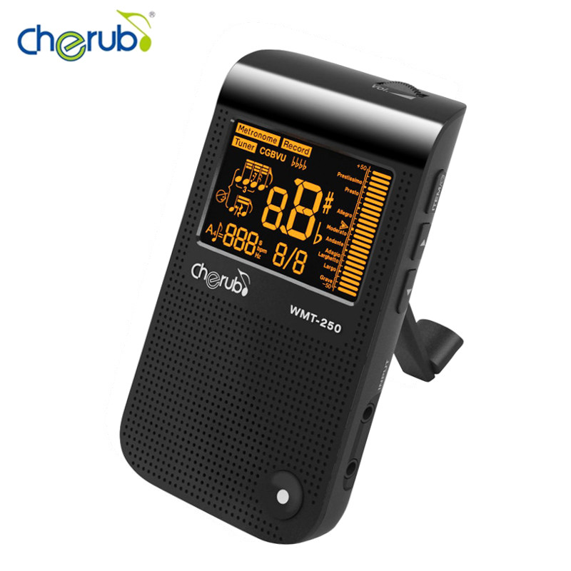 Cherub WMT-250 Metronome Tuner Tone Generator for Chromatic/Guitar/Bass/Violin/Ukulele with Auto Tuning Method & Electronic lt 33 electronic piezo clip on chromatic tuner guitar bass ukulele violin chromatic tuner for musical instrument accessories
