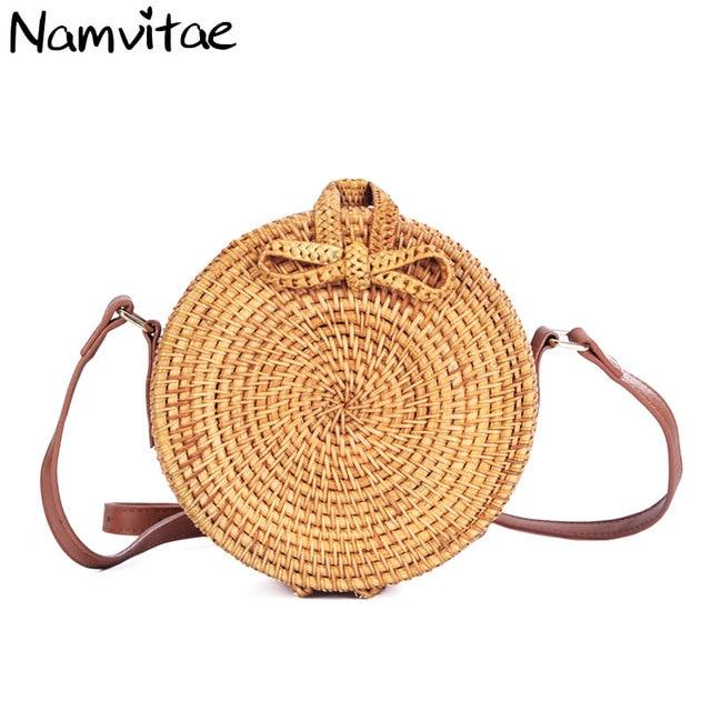 Namvitae Women Round Rattan Straw Bags Fashion Bali Handbags Handmade Woven Shoulder Bag Bohemia Beach Circle