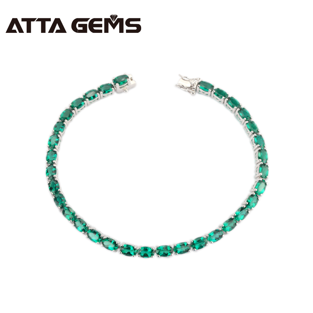 Green Emerald Sterling Silver Bracelet 33 Pieces of Oval 4mm 6mm Created Emerald Top and Fashion