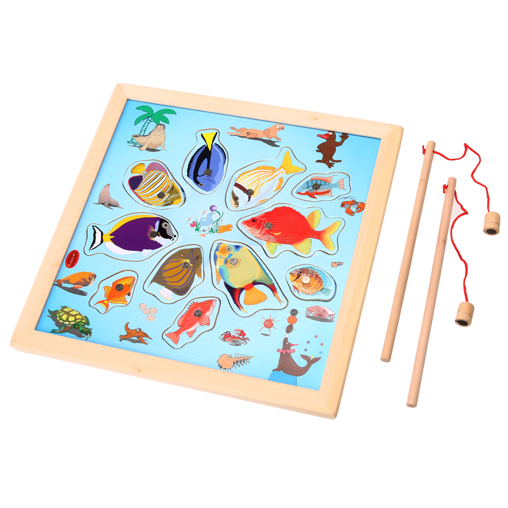 Wood Fishing Board Baby Kids Magnetic Fishing Game Toy Mini Ocean Crab Fish Puzzle Jigsaw 15 Fishes + 2 Fishing Rods K5BO