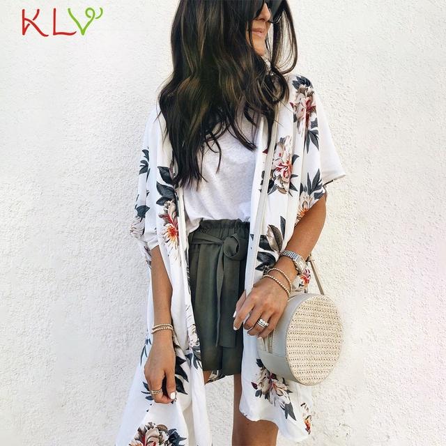 Kimono Cardigan Women Long Chiffon Floral Print Kimono Mujer Kimonos Plus Size Blouse 2019 Summer Beach Harajuku Femininas 19A23
