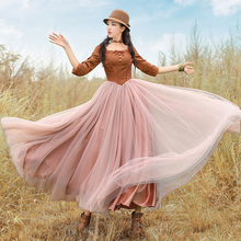 Aporia.King 2017 autumn female vintage royal wind slim waist gauze expansion bottom mysheros one-piece dress