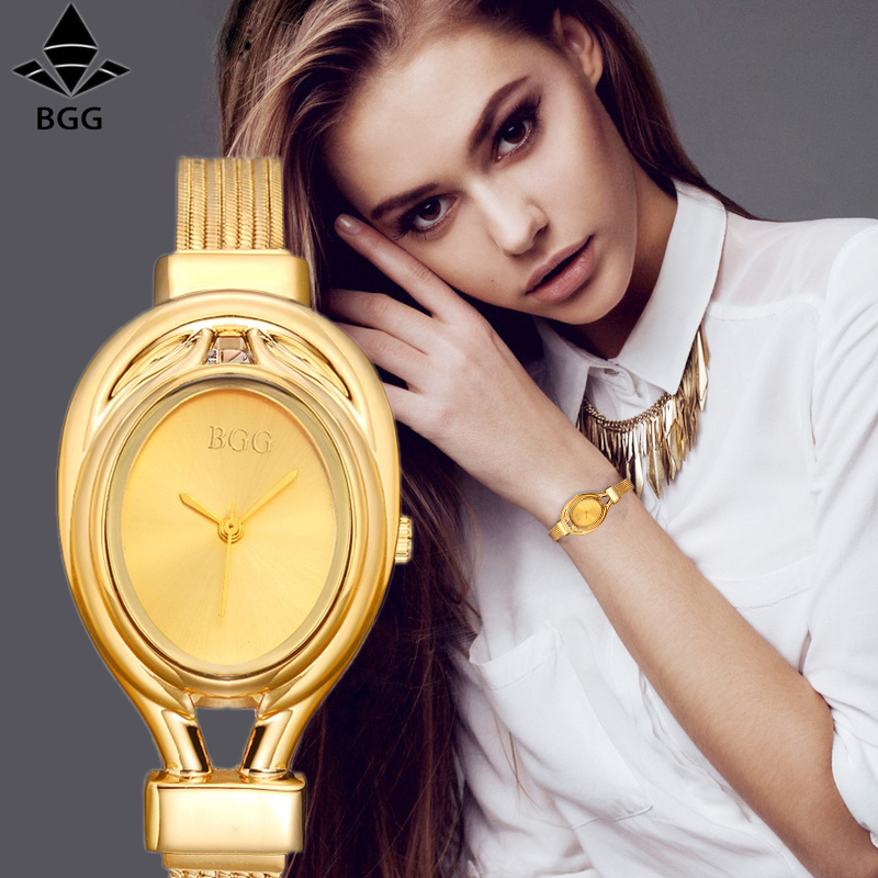 все цены на 2017 Bgg Brand Women steel dress watches ladies Luxury simple Casual quartz watch relogio feminino female silver clock hours в интернете