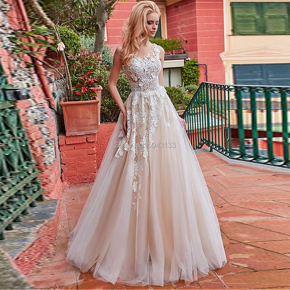 Classic Lace Applique A Line Champagne Wedding Dresses 2020 Floor Length Vestido Noiva O Neck Sleeveless Wedding Bridal Gowns