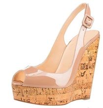 New Arrivals Wooden Heels Wedge Sandals Black Nude Patent Leather Slingback Summer Shoes Cut-out High Platform Women