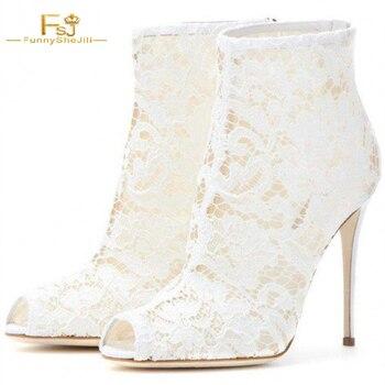 Women's White Peep Toe Platform Lace Stiletto Heel Ankle Boots Wedding Shoes Ankle Boots Zipper Designer 2020 FSJ Sexy Fashion
