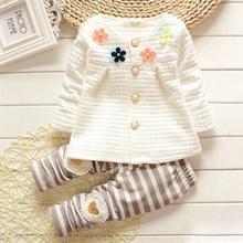 2017 Printemps Automne enfants bébé filles vêtements définit coton cardigan costume set enfants fleur manteau + pantalon 2 pcs casual enfants Ensemble