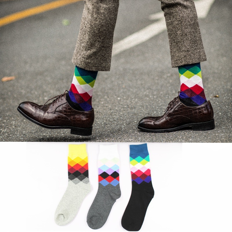 PEONFLY3 pair/lot Happy Socks Oil Painting Combed Cotton Brand Harajuku Men Socks Colorful Dress knit Crew Long Funny Socks
