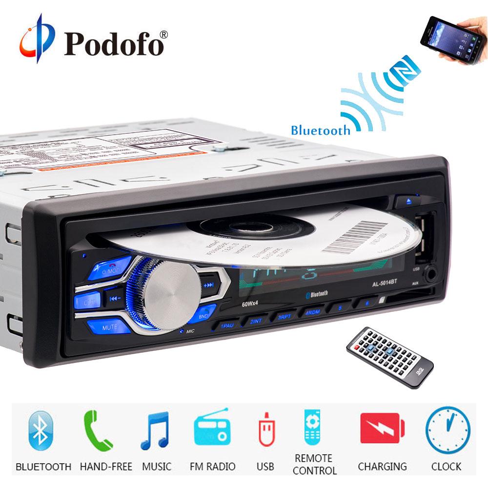Podofo autoradio 12 V Bluetooth 1 din autoradio lecteur CD DVD téléphone AUX-IN MP3 FM/USB/Radio télécommande voiture Audio