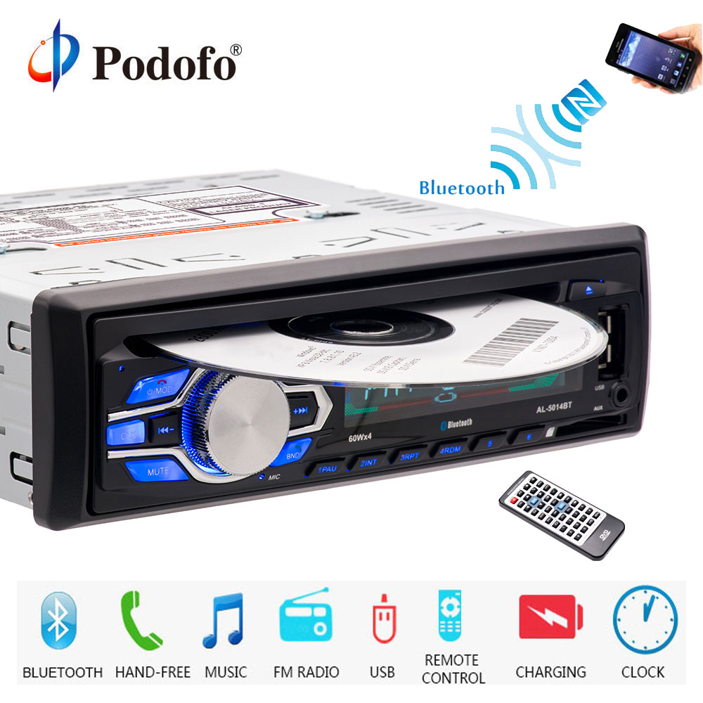 Podofo autoradio 12V Car Radio Bluetooth 1 din car stereo CD DVD Player Phone AUX-IN MP3 FM/USB/radio remote control Car Audio ya проигрыватель винил am fm radio cd cd mp3 usb aux in