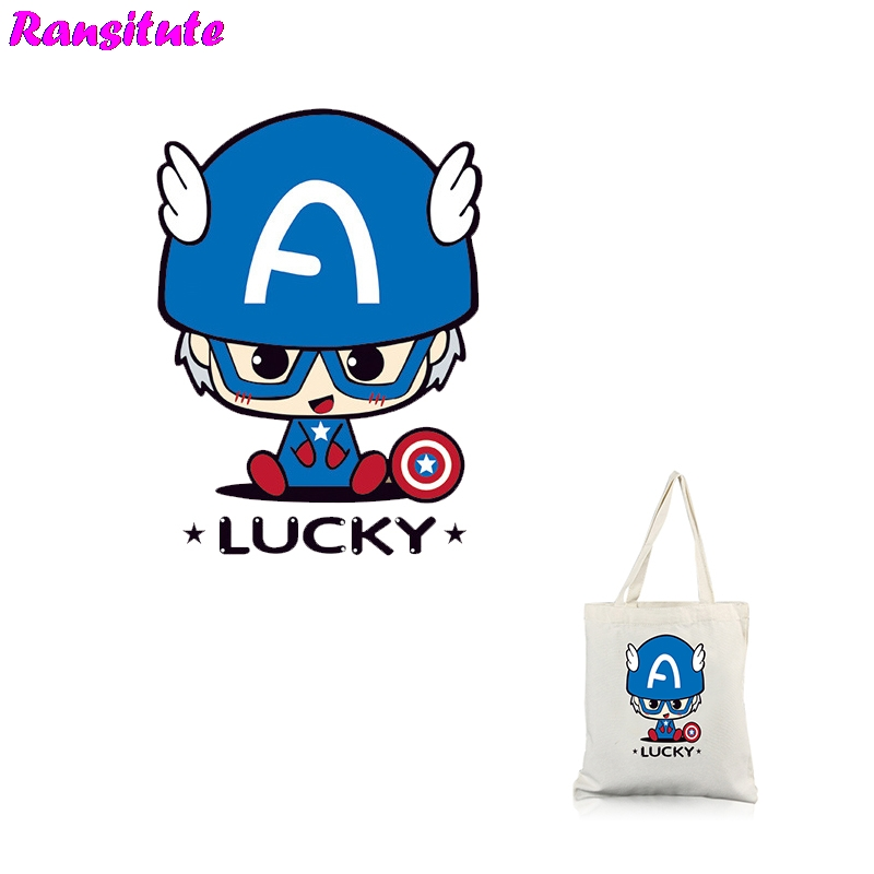 Ransitute R320 Captain America 1 DIY Clothes Stickers Patch Couple T-shirt A Grade Powder Thermal Transfer Decoration Hot Map