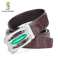 FAJARINA Quality Luxury Crocodile Cowhide Genuine Leather Striped Automatic Brown Belt Man Cowskin Belts for Men 2017 ZDFJ180
