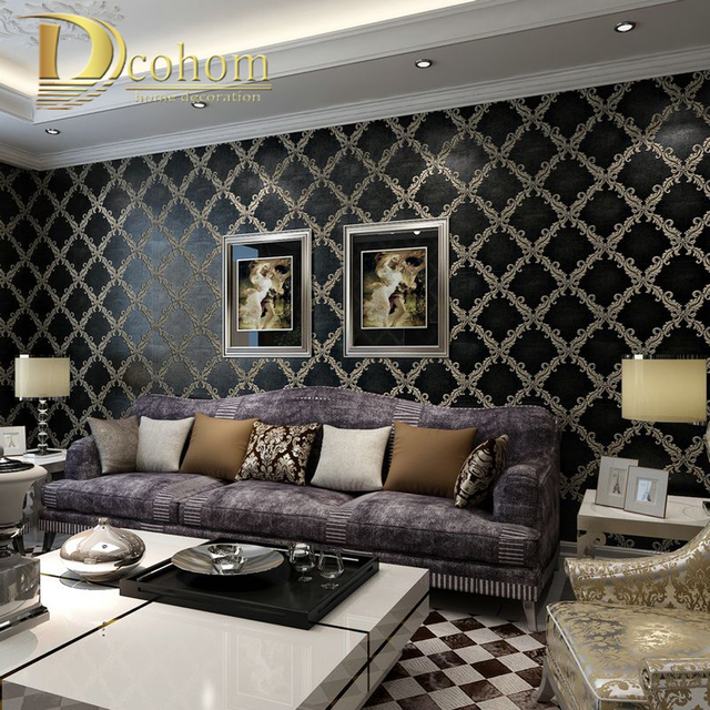 Buy simple luxury european style beige for Damask wallpaper living room ideas
