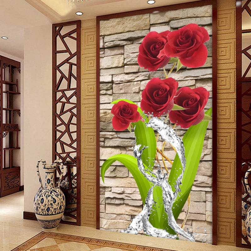 Custom photo wallpaper 3D stereo popular Rose flowers in the water Home decoration corridor background mural wallpaper the woman in the photo