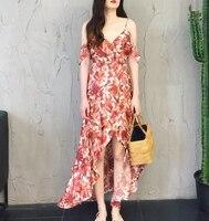summer dress 2018 floral print hobo sexy off shoulder Backless sleeveless high waist long Chiffon beach dress women party dress