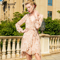 POKWAI Casual Print Women Summer Mini Sheath Dress 2018 New Fashion High Quality V Neck Wrist Butterfly Sleeve Sashes Dresses