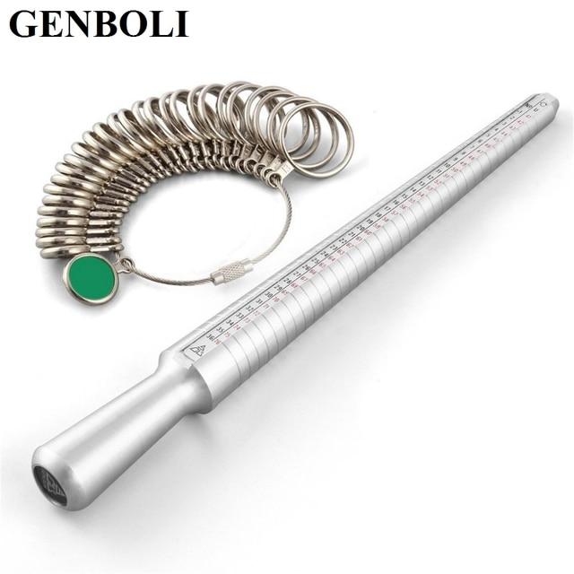5e2a4091c00e GENBOLI tamaño ee.uu. plata probador anillo Sizer dedo medición Stick Metal anillo  mandril. Sitúa el cursor encima para hacer zoom