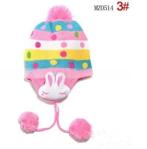 1 шт., 2013New дети точка заячьи ушки защиты вязаная шапка, Зимняя мода теплую шапку, Шапки многоцветный - Цвет: Розовый