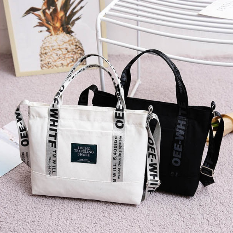 Bags For Women 2019 Fashion Brand Large Pocket Letter Print Handbag New Canvas Tote Shoulder Bag Harajuku Large Capacity