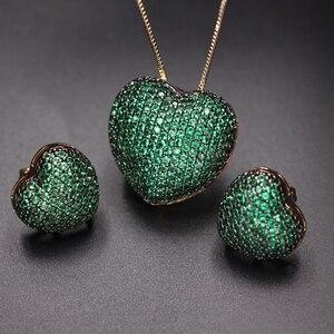 Image 3 - Collares con colgante de circonia en forma de corazón para mujer, Micro pendientes de circonia Multicolor, juegos de joyas para mujer, Charm, joyería para fiesta