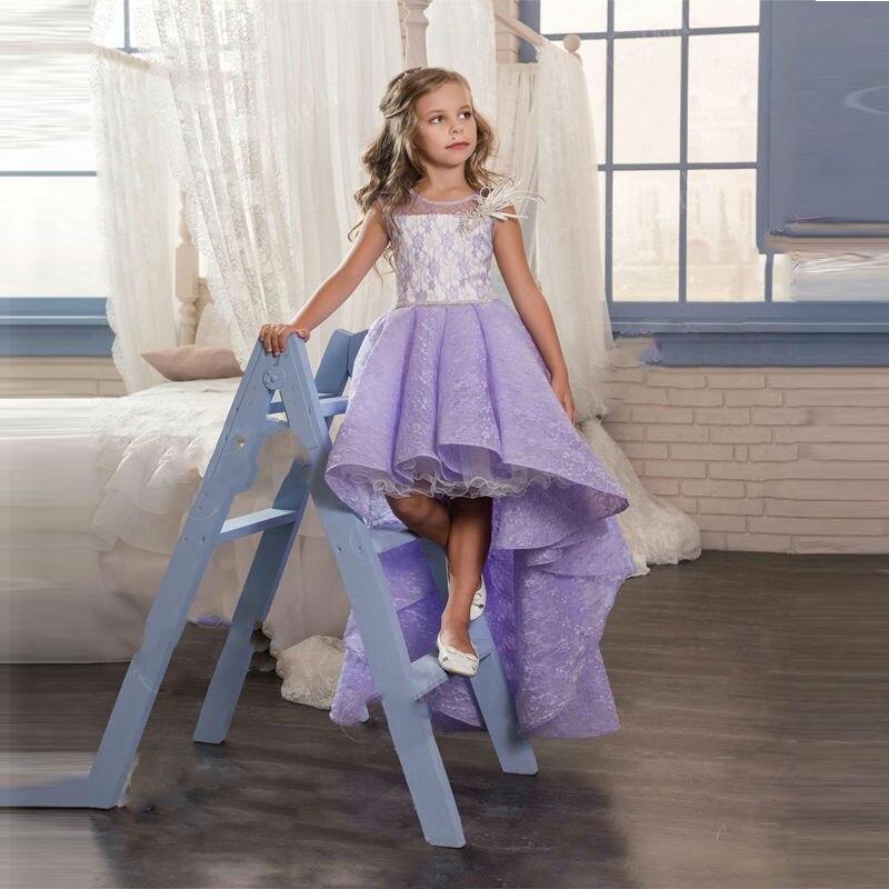 DF536 New Arrival Purple Lace Flower Girl Dresses Hi Lo Sleeveless ...