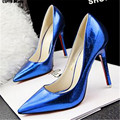CDTS shoe womes zapatos mujer popular fashion 10cm Pumps thin high-heeled shallow sexy bridal pointed toe serpentine red bottoms