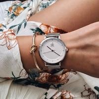 Shengke бренд кварцевые наручные часы Текстура Часы женское Повседневное платье Роскошные серебристые со стразами водонепроница