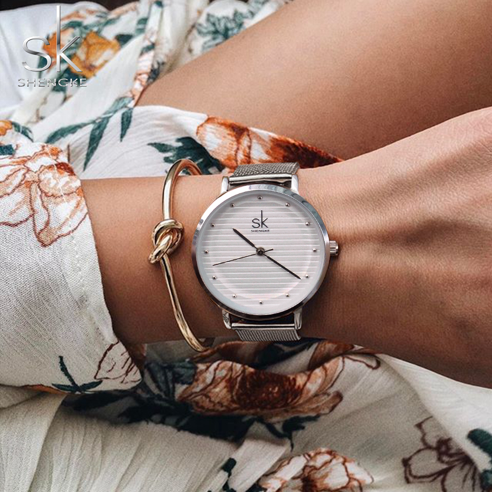 Shengke Brand Quartz Wrist Watches Texture Watches Women Zegarek Damski Casual Dress Luxury Sliver Ladies Rhinestone Waterproof