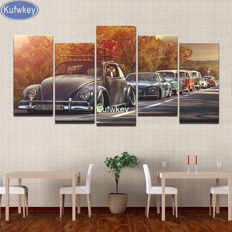Kufwkey 5 pièces bricolage 5D diamant peinture voiture point de croix plein diamant broderie 5D diamant mosaïque décor à la maison rétro voiture coucher de soleil art
