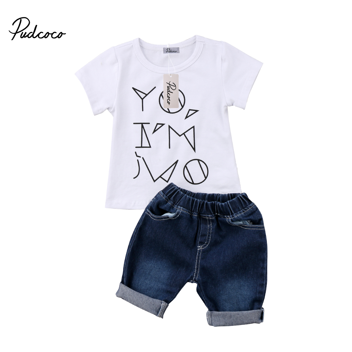 Pudcoco 2PCS Toddler Baby Kids Boys Denim Outfits Summer Short Sleeve T- shirt Tops+ Jeans Shorts Clothing Set cheecivan family matching outfits summer fashion colorful letter print short sleeve t shirt for toddler mother one piece dress