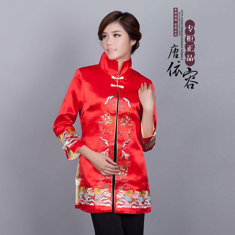 Nieuwe vrouwen tang pak top midden-lange geul klassieke chinese stijl nationale kostuums Tang Pak Hanfu Show