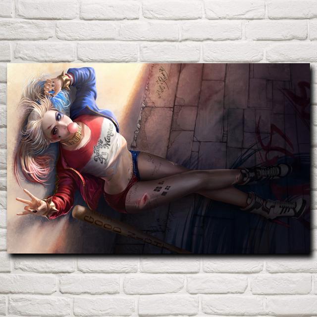 Animation Harley Quinn Comics Baseball Bats Art Silk Poster Print Home Painting 12×19 15×24 19×30 22×35 Inches