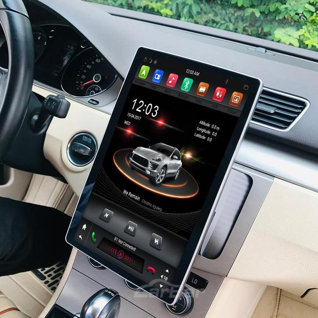 "Carbar 12.8"" Tesla Style Rotation IPS Screen 2 Din Universal Android 8.1 Car DVD GPS Player Radio Car Stereo Voice Control 1"